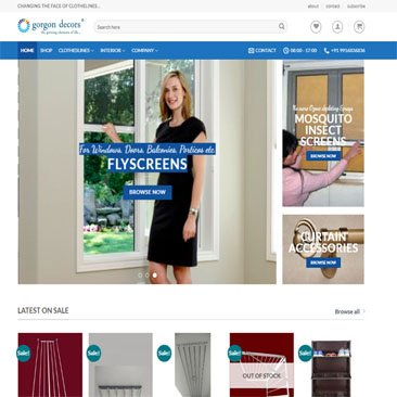 Gorgon Decors Ecommerce store built by orangis